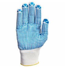 Kötött poliamid kesztyű, pamut belső, tenyéren kék pettyek -7