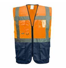 C476 Jól láthatósági vezetői mellény, narancs/sötétkék