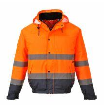 S266 Hi-Vis kéttónusú bomber kabát, narancs/sötétkék
