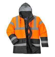 S467 Kéttónusú Traffic kabát, narancs/fekete