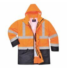S768 Jól láthatósági lélegző 5 az 1-ben kabát, narancs/sötétkék