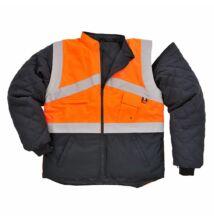 S769 Jól láthatósági kifordítható dzseki, narancs/sötétkék