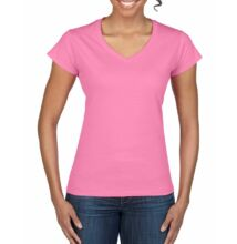 GIL64V00 SOFTSTYLE® LADIES' V-NECK T-SHIRT, Azalea