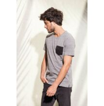 KA375 ORGANIC COTTON T-SHIRT WITH POCKET, Black/Grey Heather