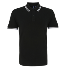 AQ011 MEN'S CLASSIC FIT TIPPED POLO, Black/Red