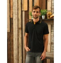PR618 MEN' S CONTRAST COOLCHECKER POLO, Black/Lime