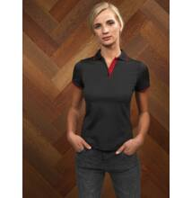 PR619 LADIES' CONTRAST COOLCHECKER POLO, Black/Lime