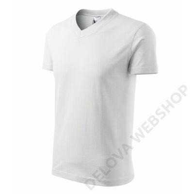 V-neck Pólók unisex, fehér
