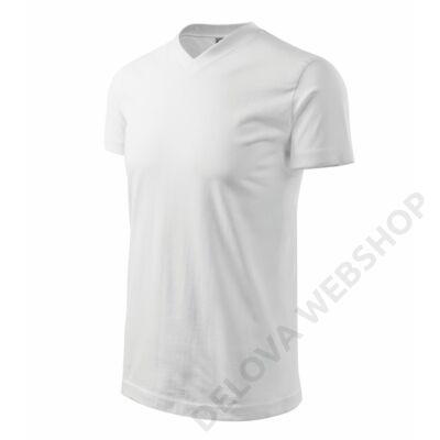 Heavy V-neck Pólók unisex, fehér