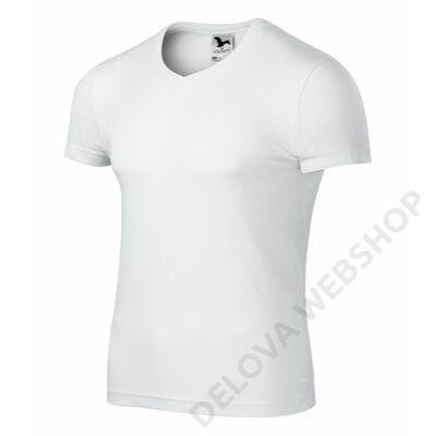 Slim Fit V-neck Pólók férfi, fehér