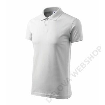 Single J. ADLER galléros póló unisex, fehér