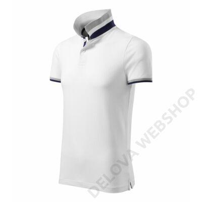 Collar Up MALFINI galléros póló férfi, fehér