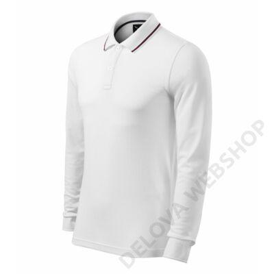 Contrast Stripe LS Galléros póló férfi, fehér