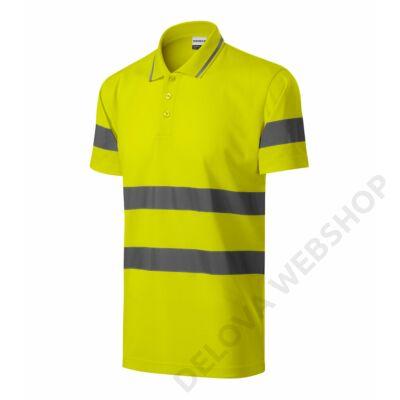 HV Runway Galléros póló unisex, fényvisszaverő sárga