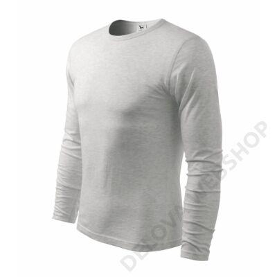 Fit-T Long Sleeve Pólók férfi, világosszürke melírozott