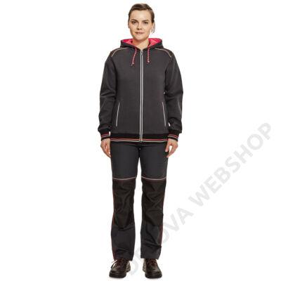 KNOXFIELD LADY kapuc.pulóver, szürke/piros