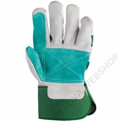 Bőrkesztyű, szürke hasíték, dupla bőr tenyér/zöld vászon -10