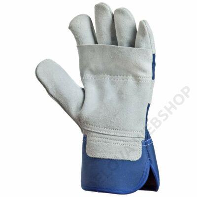 Bőrkesztyű, szürke dupla marhahasíték/kék vászon kézhát -8