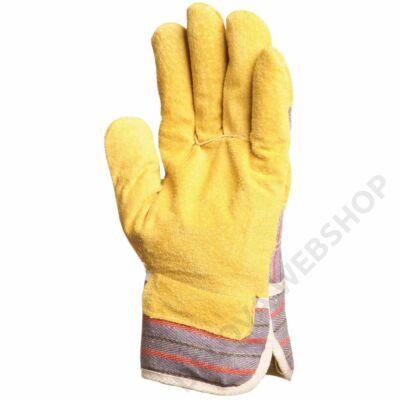 Bőrkesztyű, sárga marhahasíték/csíkos vászon, tenyérbélés -10