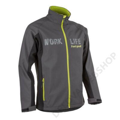 PIMAN sportos férfi softshell kabát, szürke/lime