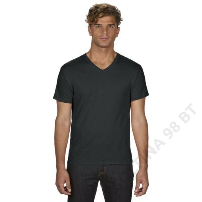 AN362 ADULT FEATHERWEIGHT V-NECK TEE, Black