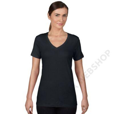 AN392 WOMEN'S FEATHERWEIGHT V-NECK TEE, Black