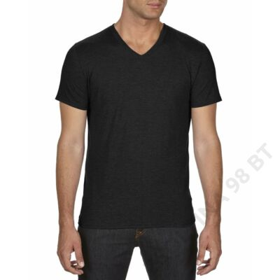 AN6752 ADULT TRI-BLEND V-NECK TEE, Black