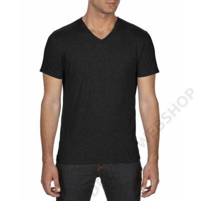 AN6752 ADULT TRI-BLEND V-NECK TEE, Black