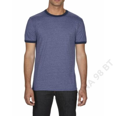 AN988 ADULT FASHION BASIC RINGER TEE, Heather Blue/Navy