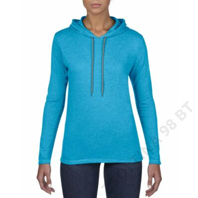ANL887 WOMEN'S FASHION BASIC LONG SLEEVE HOODED TEE, Caribbean Blue/Dark Grey