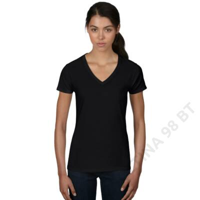 ANL88V WOMEN'S FASHION BASIC V-NECK TEE, Black