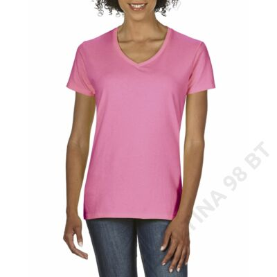 GIL4100V PREMIUM COTTON® LADIES' V-NECK T-SHIRT, Azalea