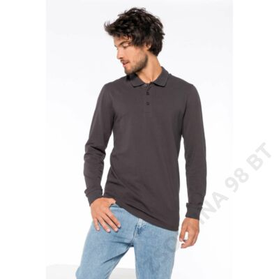 KA256 MEN'S PIQUÉ LONG SLEEVE POLO SHIRT, Black