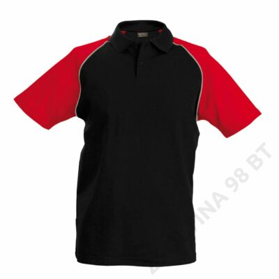 KA226 POLO BASE BALL - CONTRAST POLO SHIRT, Black/Red