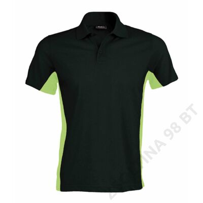 KA232 FLAG - SHORT SLEEVE BI-COLOUR POLO SHIRT, Black/Lime