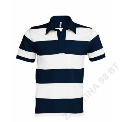 KA237 RAY - SEWN STRIPE SHORT SLEEVE POLO SHIRT, Navy/White
