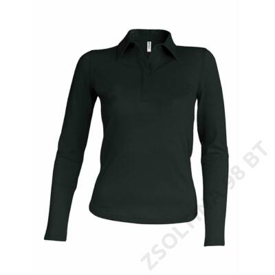 KA244 LADIES' LONG SLEEVE PIQUE POLO SHIRT, Black
