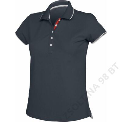 KA252 LADIES' SHORT SLEEVE POLO SHIRT, Navy/White/Red