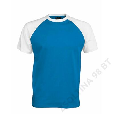 KA330 BASE BALL - CONTRAST T-SHIRT, Aqua Blue/White
