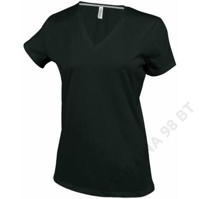 KA381 LADIES' SHORT SLEEVE V-NECK T-SHIRT, Black