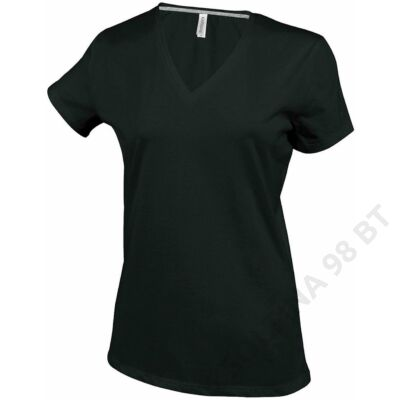 KA381 LADIES' SHORT SLEEVE V-NECK T-SHIRT, Black