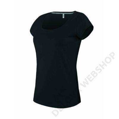 KA384 LADIES' BOAT NECK SHORT SLEEVE T-SHIRT, Black