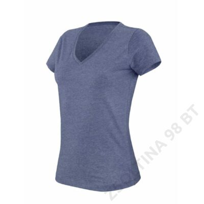 KA387 LADIES' V-NECK SHORT SLEEVE MELANGE T-SHIRT, Blue Heather