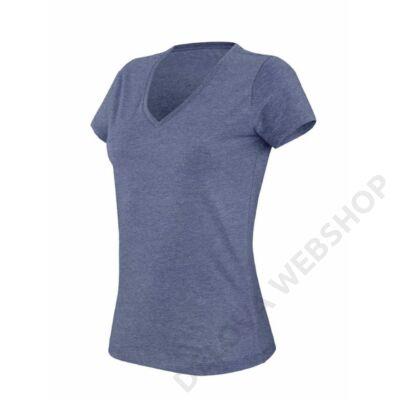 KA387 LADIES' V-NECK SHORT SLEEVE MELANGE T-SHIRT, Blue Heather