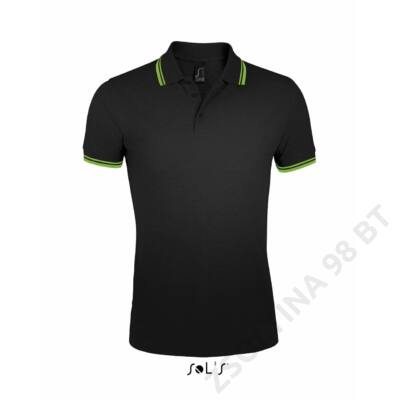SO00577 PASADENA MEN POLO SHIRT, Black/Lime