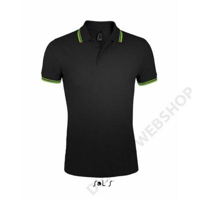 SO00577 PASADENA MEN POLO SHIRT, Black/Lime