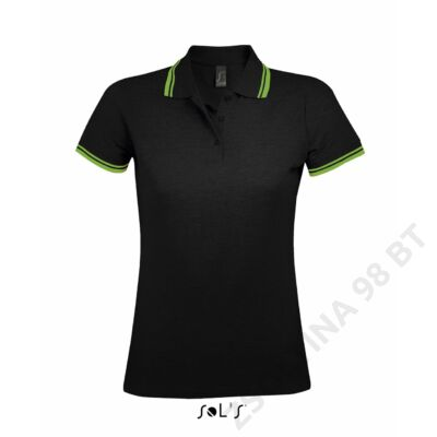 SO00578 PASADENA WOMEN POLO SHIRT, Black/Lime