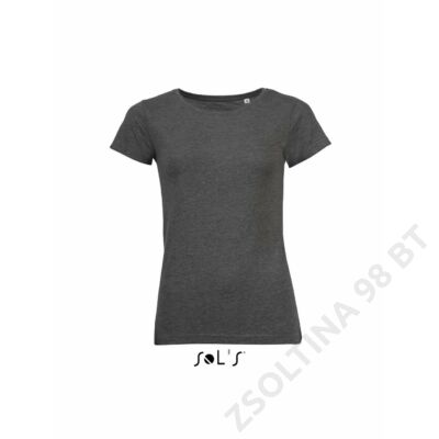 SO01181 MIXED WOMEN ROUND COLLAR T-SHIRT, Charcoal Melange