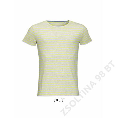 SO01398 MILES MEN ROUND NECK STRIPED T-SHIRT, Ash/Lemon