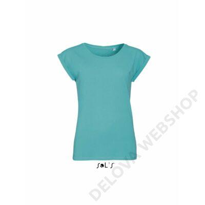 SO01406 MELBA WOMEN'S ROUND NECK T-SHIRT, Carribean Blue